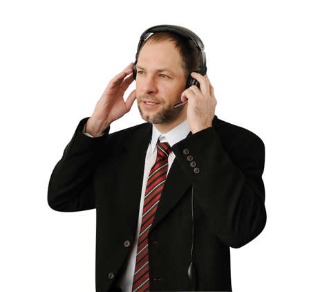 commentator: Man in suit with headset isolated on white Stock Photo