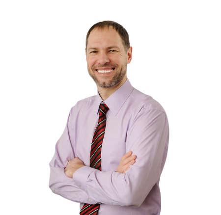 Smiling business man isolated on white background Stock Photo - 17543481
