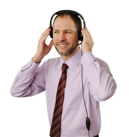 commentator: Smiling man with headset isolated on white background