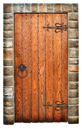 vintage wooden door on brick wall  Banque d'images