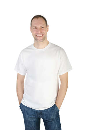 man t shirt: Smiling man in t-shirt isolated on white background