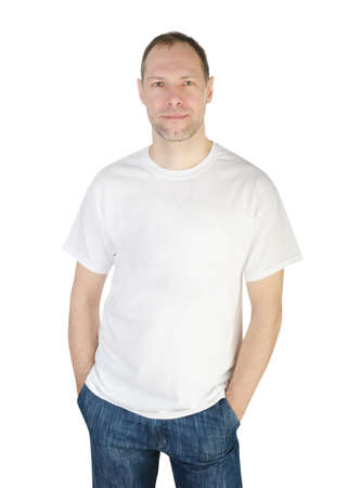 blank t shirt: Smiling man in t-shirt isolated on white background
