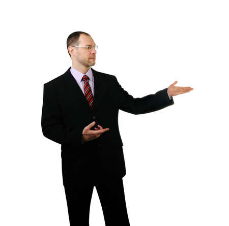 Business man point a hand at side isolated on white background