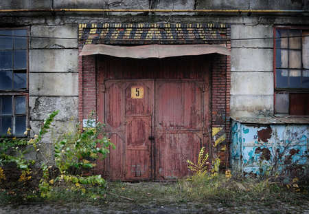 closed door: Vintage old factory door