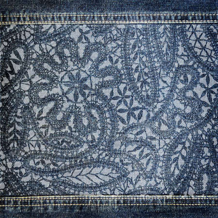 blue jeans: Background denim texture with lace pattern