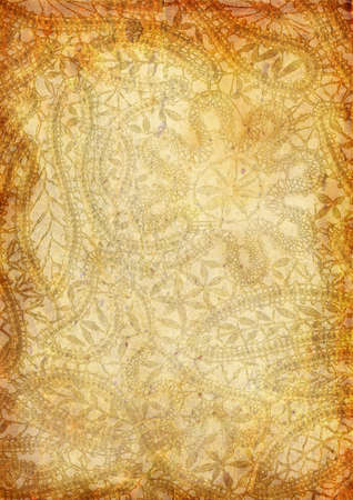 wrinkled paper: Vintage background with lace pattern