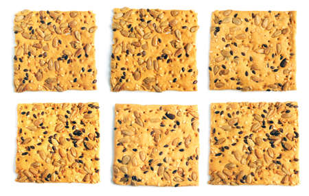 Set of cookies with flax seeds sesame sunflower isolated on white background photo