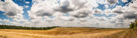 Wonderful panorama of countryside with cloudy sky and harvested field