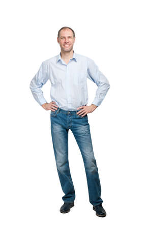 beautiful men: Smiling man in blue shirt and jeanse isolated on white background