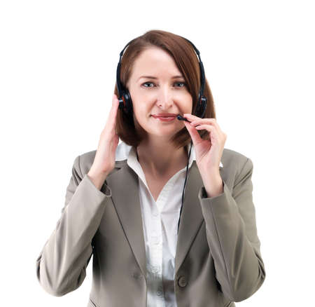 middle age women: Pretty business woman in gray suit with earphones isolated on white background Stock Photo