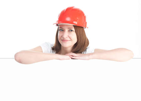 casco rojo: Mujer en casco rojo