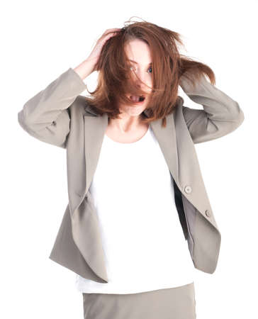 Portrait of woman isolated on a white background photo