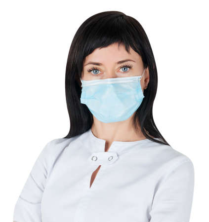 Woman doctor in medical mask isolated on white background Stock Photo