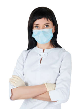 Woman doctor in medical mask isolated on white background photo