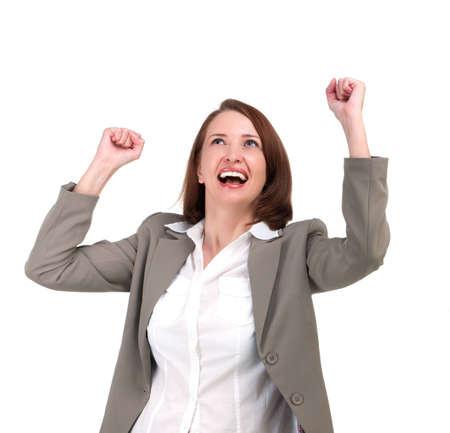 manos levantadas: Ganador mujer de negocios con sus manos levantadas