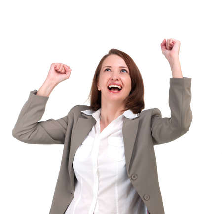 hands raised: Winner business woman with her hands raised