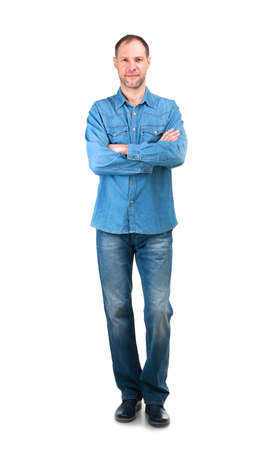 young man jeans: Smiling man in denim shirt isolated on the white background Stock Photo
