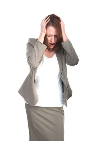 Business woman in stress holding his head photo