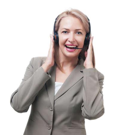 Telephone operator isolated on white background photo