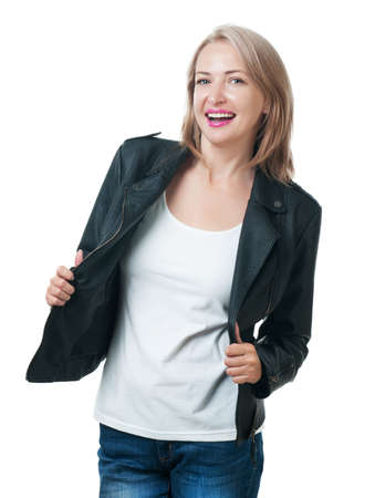 Young beautiful girl in a leather jacket isolated on white background Stock Photo