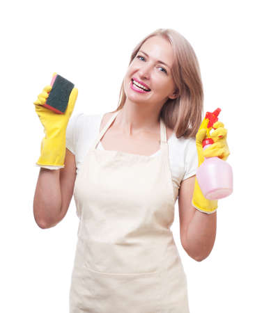 gloves: Beautiful woman doing housework in gloves with sponge isolated on white