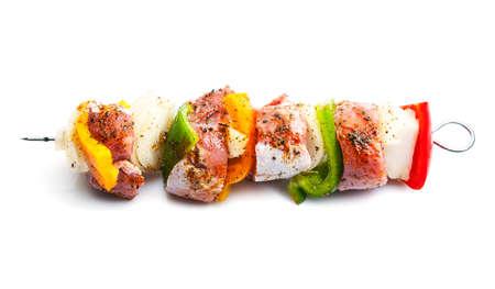 the shish kebab: shish kebab on skewers isolated on white background Stock Photo