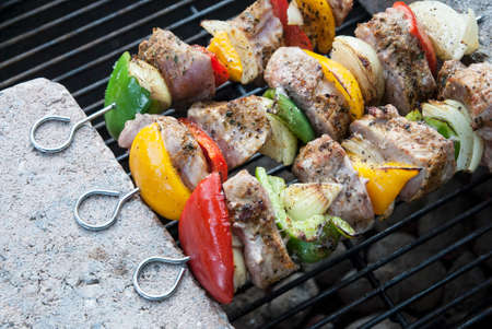 BBQ with kebab cooking. coal grill of lamb meat skewers