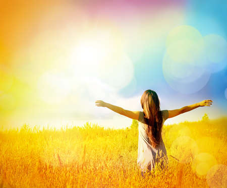 freedom: Free Happy Woman Enjoying Nature and Freedom. Beauty Girl Outdoor. Stock Photo