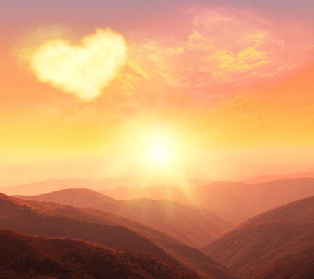 romantic sky: heart, love and Valentines day Stock Photo