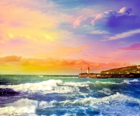 morado: Sunset in the Black Sea. Yalta. Crimea.
