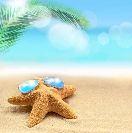 estrella de mar: estrella de mar en sunglusses en la playa de arena y la palma en el fondo del océano Foto de archivo