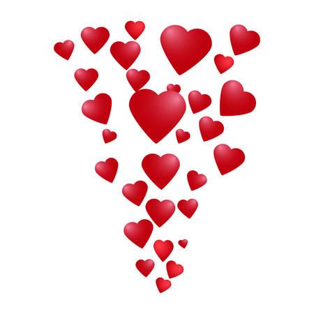 corriente de corazones de color rojo brillante sobre un fondo blanco