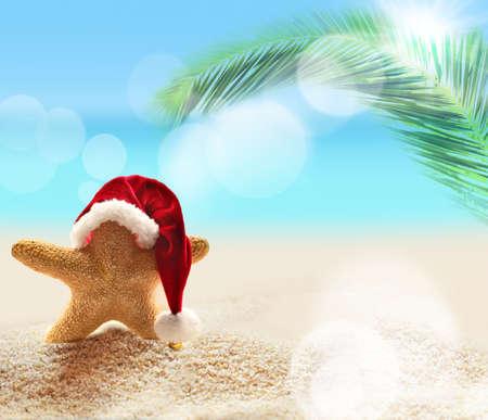 Zomerstrand. Vrolijk kerstfeest. Zeester in de kerstman hoed.