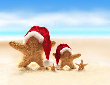 playas tropicales: Estrellas de mar en la playa de verano y sombrero de Santa. Feliz Navidad. Foto de archivo