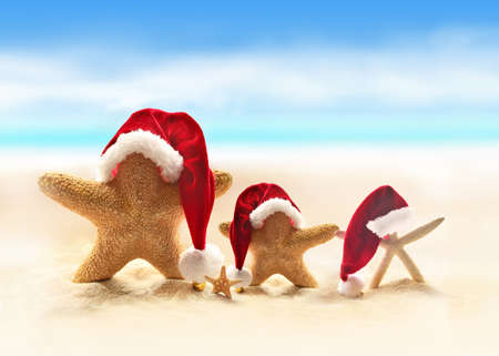 Bright: Starfish on summer beach and Santa hat. Merry Christmas.