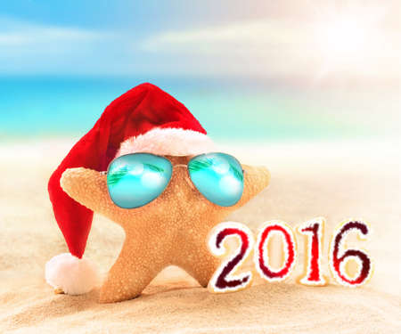 'yule tide': starfish in santa hat and sunglasses on the sunny beach