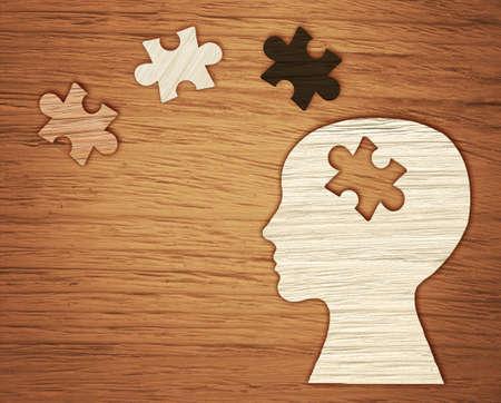 정신 건강 기호입니다. 인간의 머리 실루엣 퍼즐을 잘라