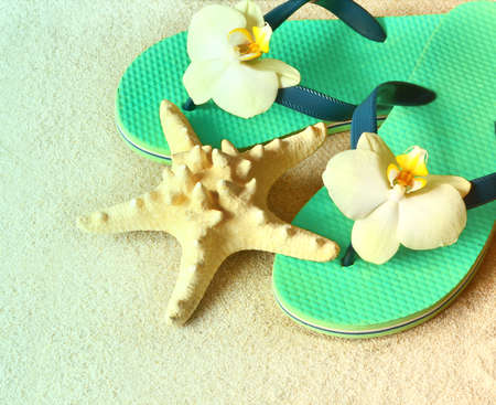 flops: Flip Flops in the sand with starfish and orchid flowers. Summertime on beach concept. Summer beach. Stock Photo