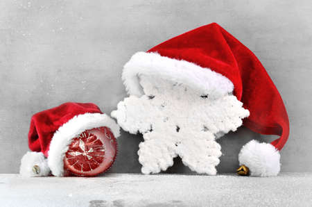free backgrounds: Christmas grey background with Santa hat.Happy new year. santa hat . Stock Photo