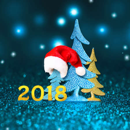New year. New 2018. Happy new year. 2018 numbers on blue background Stock Photo