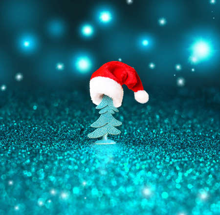 Christmas tree and Christmas decoration background. Merry Christmas. Stock Photo