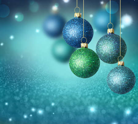 Hanging christmas balls with copy space. Christmas decoration.