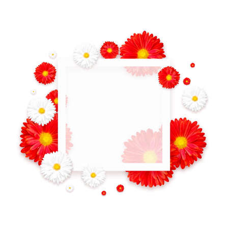 White background with beautiful colorful flower. Wallpaper flyers, invitation, posters, brochure voucher discount Stock Photo