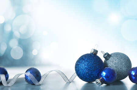 Christmas Holiday Background decorated with baubles, light garland. Christmas and New Year Decoration.