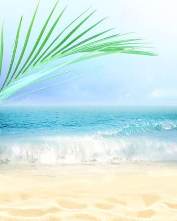 Sommerstrandhintergrund. Sand, Palmblatt, Meer und Himmel. Sommerkonzept Standard-Bild