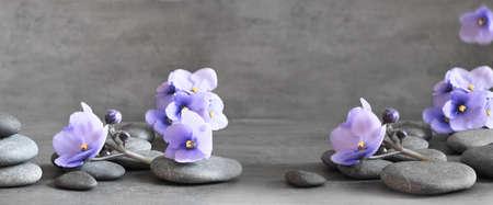 Zen stones and exotic violet flowers on grey background. Foto de archivo