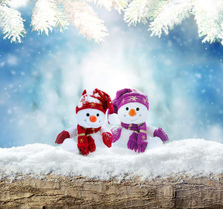 Merry christmas and happy new year greeting card .Two cheerful snowman standing in winter landscape in snow.