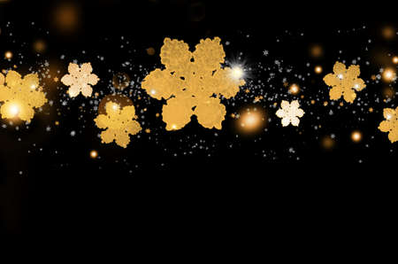 Christmas background with golden glitter snowflakes on black