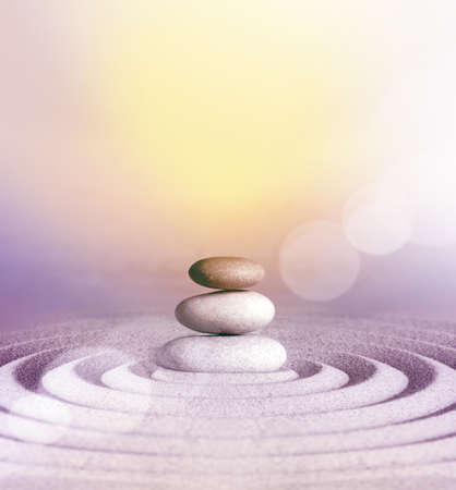 Japanese zen garden meditation stone concentration and relaxation sand and rock for harmony and balance.