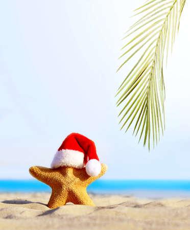 Summer beach. Merry Christmas. Starfish in Santa Claus hat